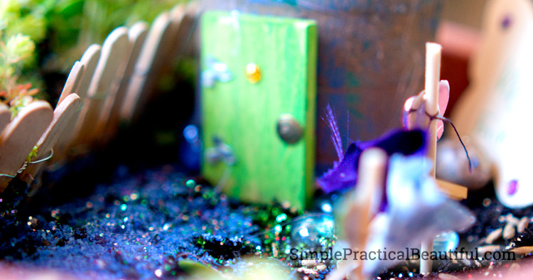 Add glitter to your fairy garden to make it more magical