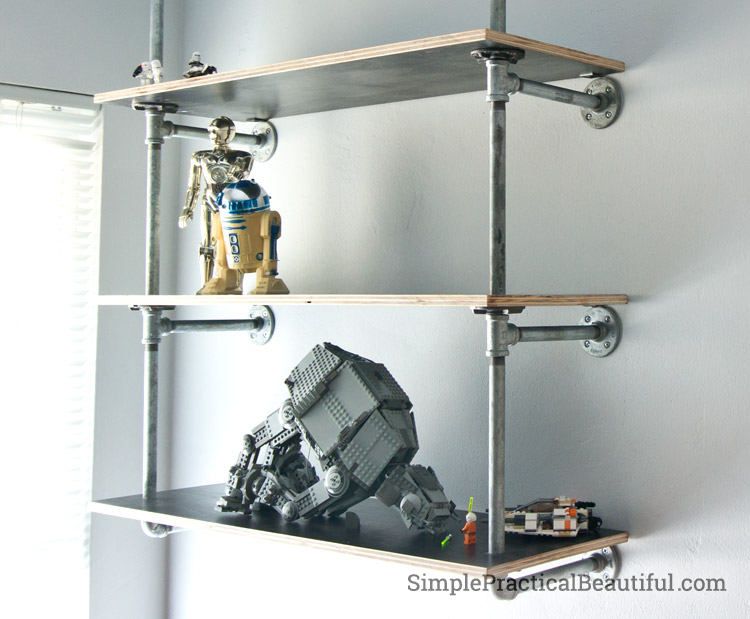 How to build industrial pipe shelves | SimplePracticalBeautiful.com