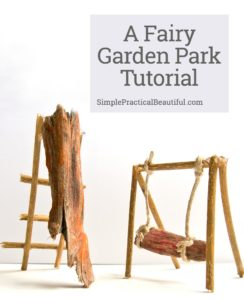 Build a park in your fairy garden, including a swing, slide, sandbox, pond, and plants