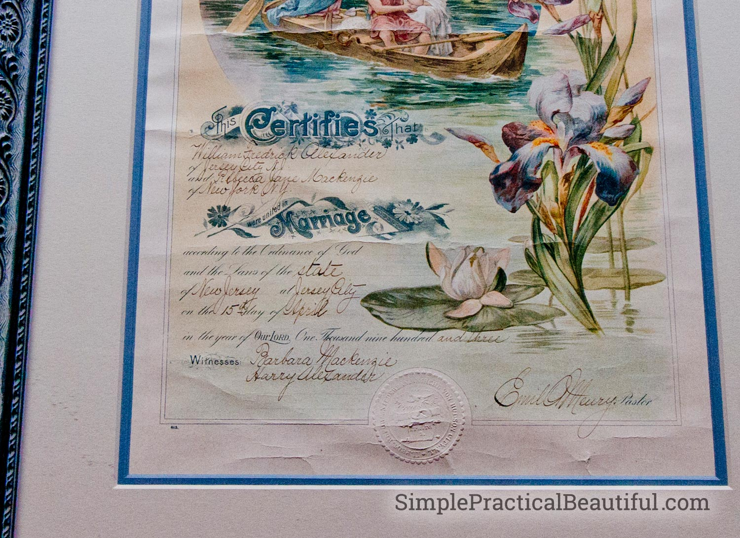 My grandmother's marriage certificate