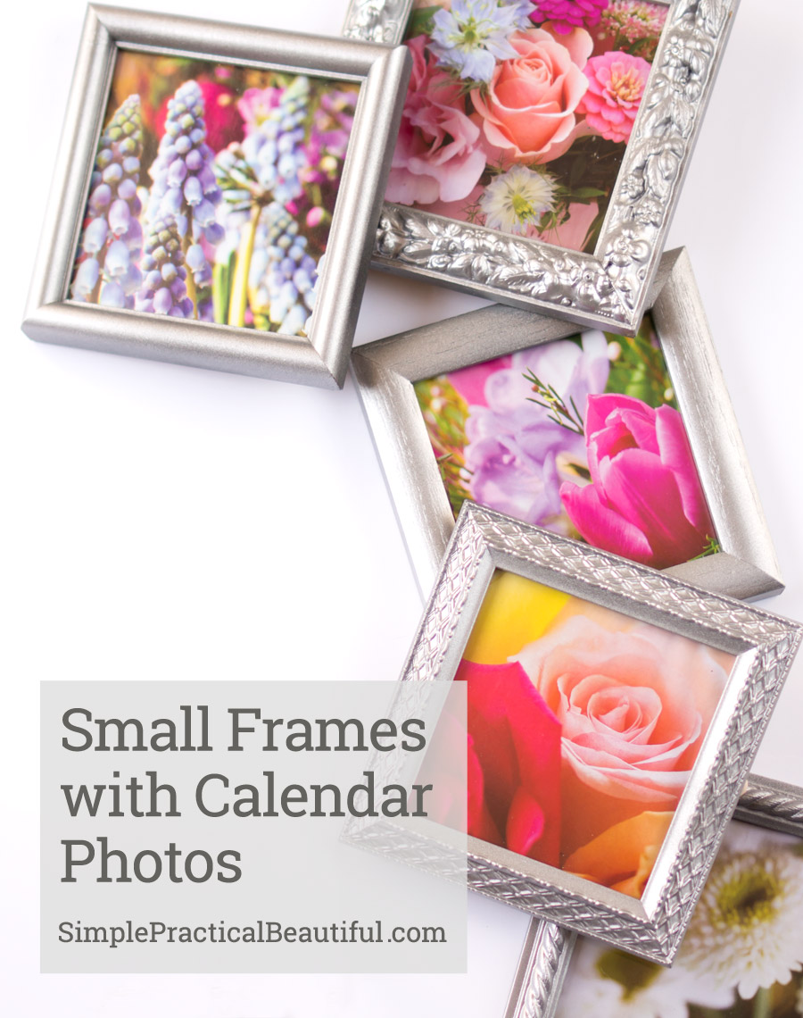 Create a collage or gallery of small frames using beautiful photos from an old calendar. See the finished wall at SimplePracticalBeautiful.com