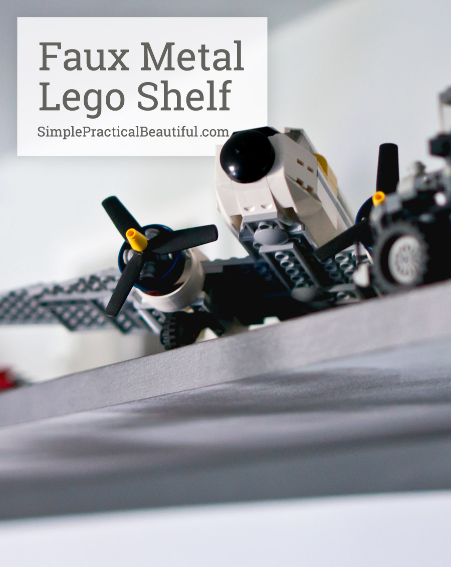 Use latex and spray paint to create a metal look on a shelf for displaying cool objects, like Legos