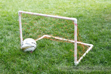 a DIY soccer goal made with PVC pipes