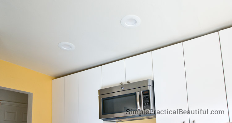 Recessed lighting in the kitchen
