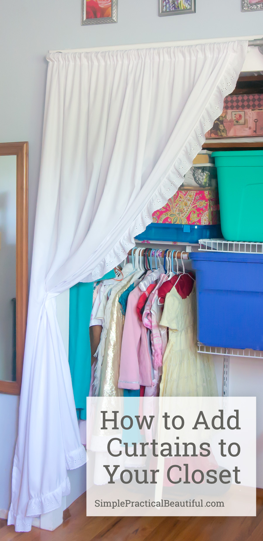 How to make simple closet curtains from sheets.