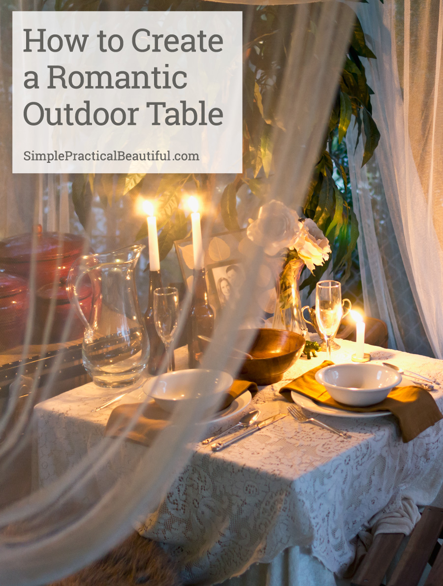 A romantic outdoor dinner tablescape simple practical Outdoor dinner table setting