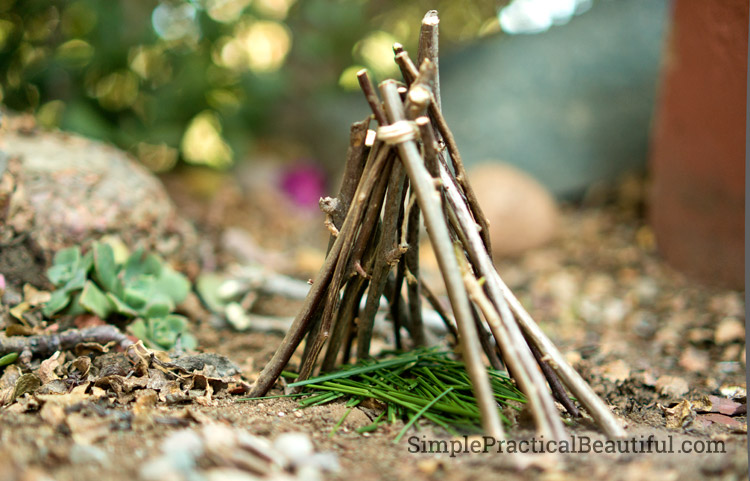 Create a fairy garden campground with a teepee tent, a campfire, and even a cave to explore, all miniature.