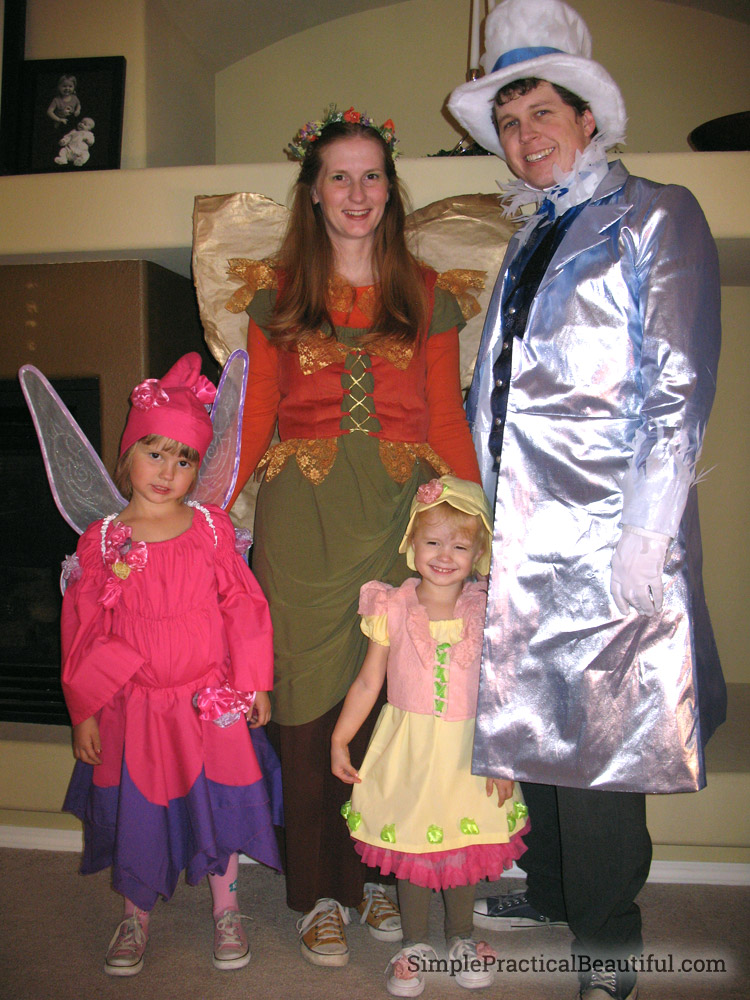 Family Halloween costume idea: The Seasons. A spring fairy, summer fairy, autumn fairy, and Jack Frost.