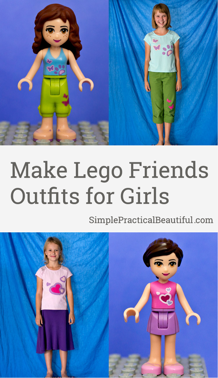 How to make Lego Friends outfits as a gift for the girl or tween who loves Legos. Free Printables!