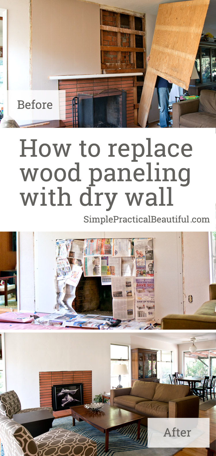 Totally transform a wall: How to remove wood paneling, prepare for dry wall, hang dry wall, mudding, wall texture, and painting