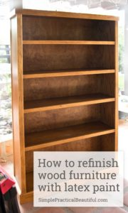 How to refinish a bookshelf or any wood furniture with latex paint | furniture makeover | refinishing | painting a bookcase