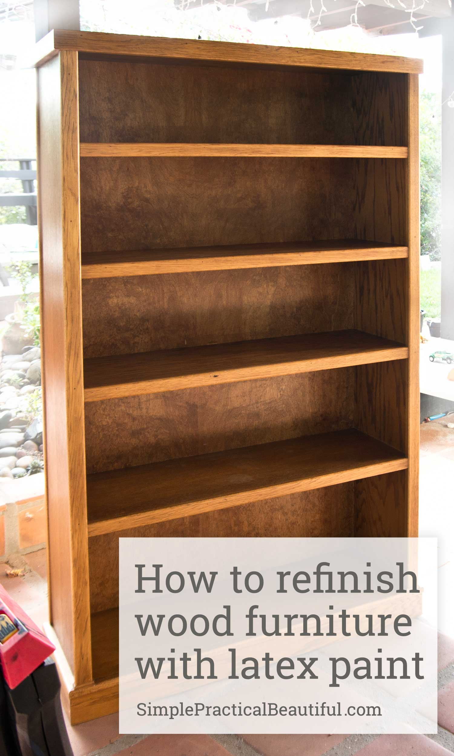 refinishing a wood bookcase simple practical beautiful. Black Bedroom Furniture Sets. Home Design Ideas