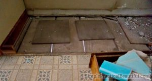 subfloor missing below kitchen cabinets with access below the house