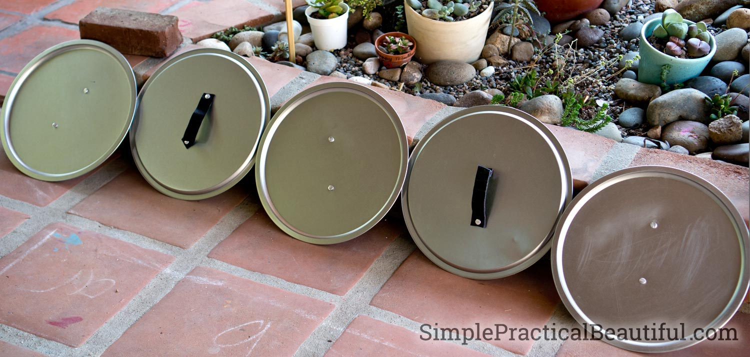 DIY shields made from pizza pans