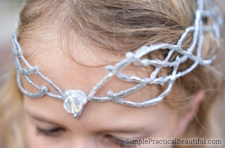 A DIY elf crown made to look like branches of silver