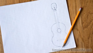 How to draw a template to make a miniature guitar