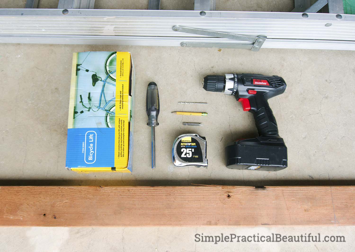 Tools needed to install the Bicycle Lift: drill, screw driver, tape measure, 2X4 board