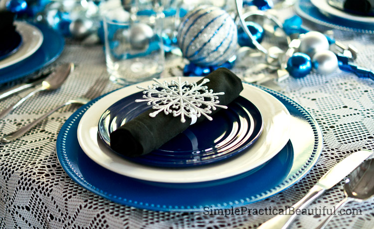 Napkin rings from dollar store snowflakes
