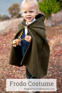 A Frodo costume for a toddler, including a glowing sword, a cloak, and the one ring | Halloween costume | Hobbit from The Lord of the Rings