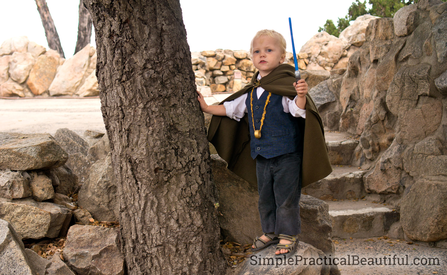 A Frodo costume for a toddler, including a glowing sword, a cloak, and the one ring
