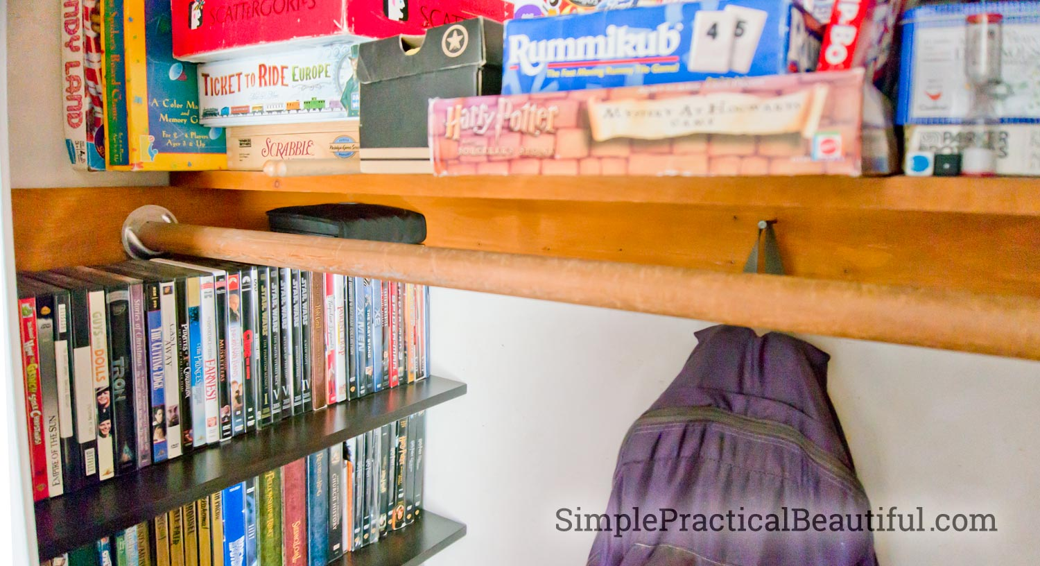 Entry closet game storage | SimplePracticalBeautiful.com