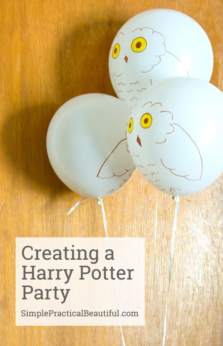 Harry Potter party with lots of fun ideas like owl invitations, recreation of Diagon Alley, Hogwarts Express, and Hogsmeade; plus game and food ideas and even a sorting hat