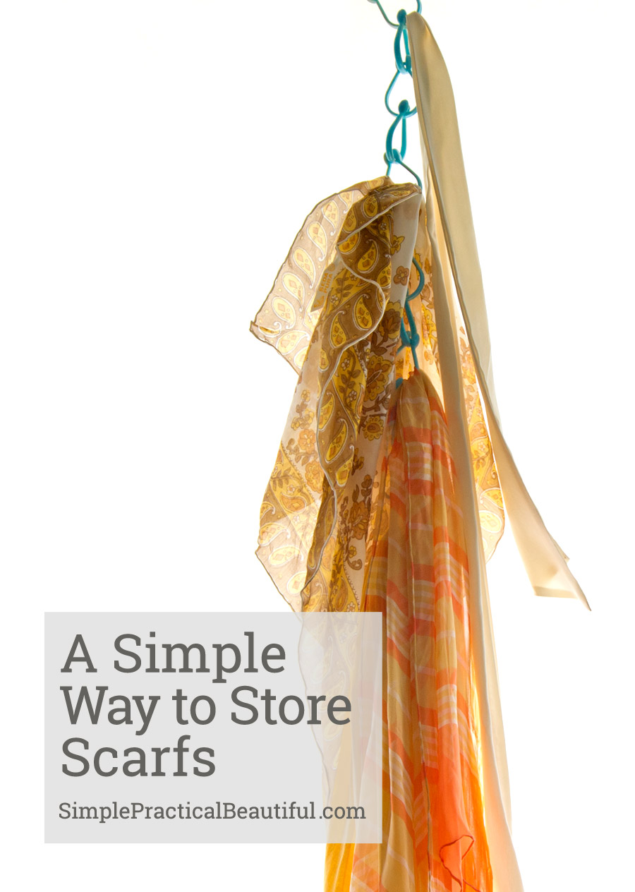 A simple idea on how to store and display your scarves with something you already own