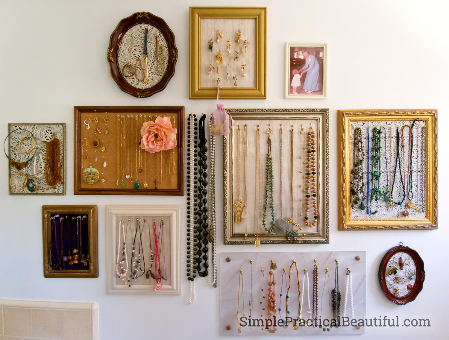 a gallery wall of jewelry