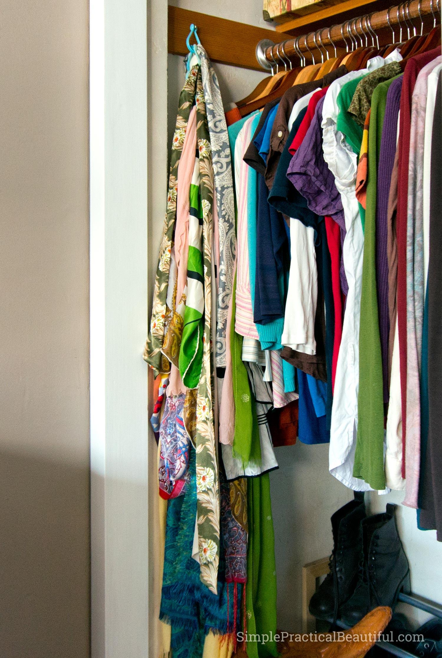 scarf holder inside the closet