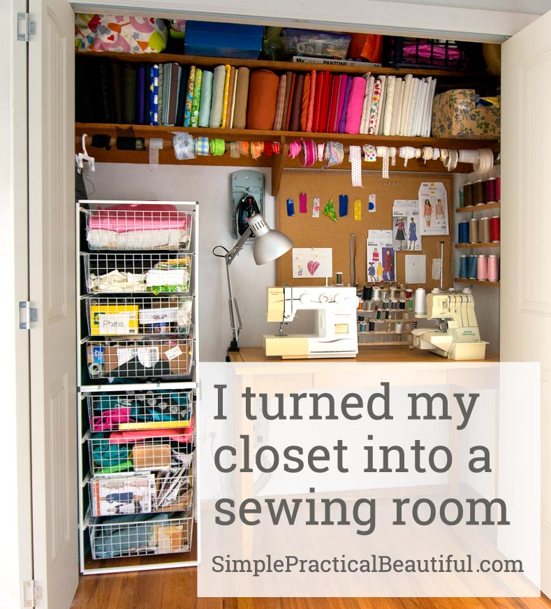 Putting lighting and electrical into a closet to make it a sewing room   SimplePracticalBeautiful.com