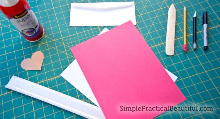 Supplies to make a Valentine card