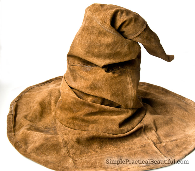How to make a Sorting Hat from an old leather jacket for a Harry Potter party at Hogwarts