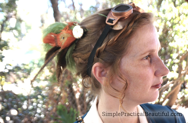 Steampunk Costume hair accessory and goggles
