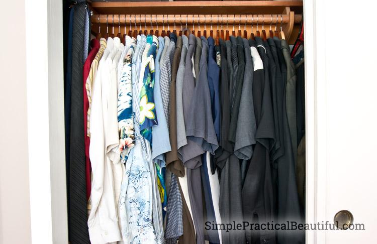 Wooden hangers make a closet neater
