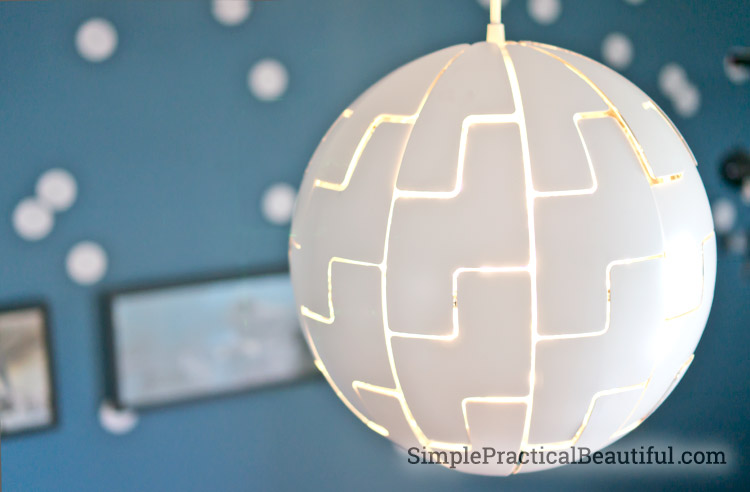 A Death Star light for a Star Wars nursery
