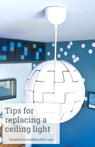How to replace an old ceiling light with a new pendant lamp, and info about the Ikea Death Star light