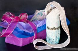 Use this free printable pattern to sew a water bottle holder, then personalize it with stamps and stencils. I great Holiday gift idea!