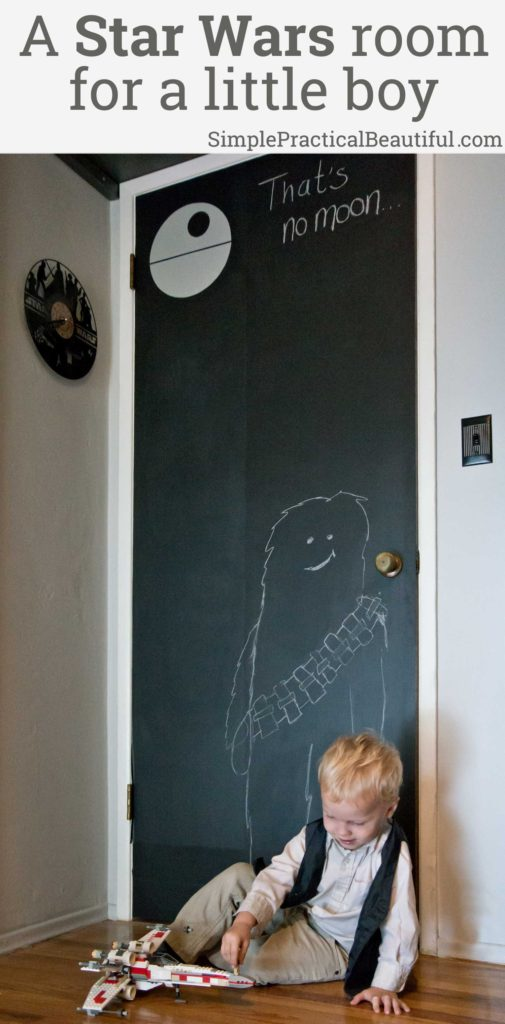 DIY Star Wars boy's room | chalkboard door | Darth Vader light switch | Death Star light | Star Wars nursery ideas