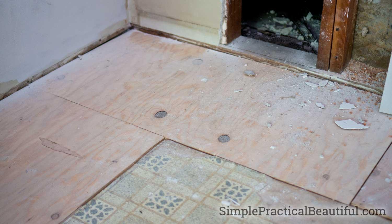 subfloor added to kitchen floor