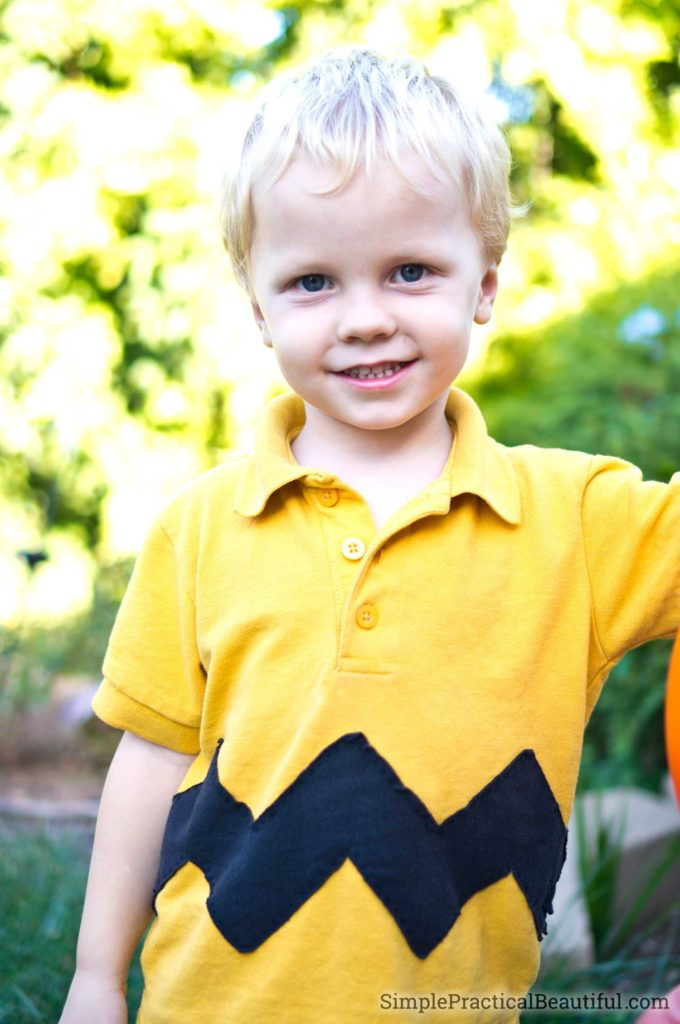 An easy DIY Charlie Brown shirt for a Halloween costume