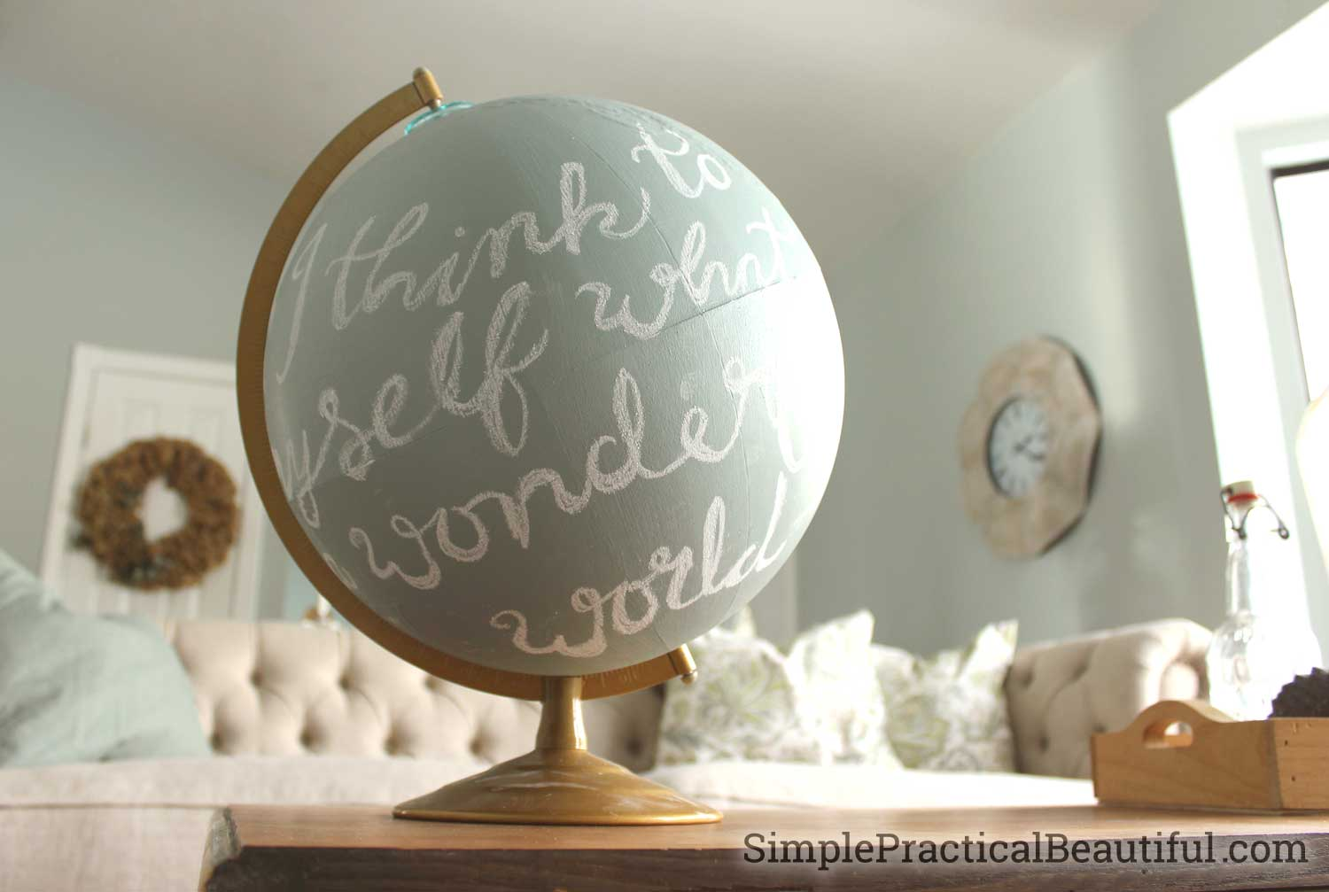 Transform an old globe into home decor by refinishing with chalk paint