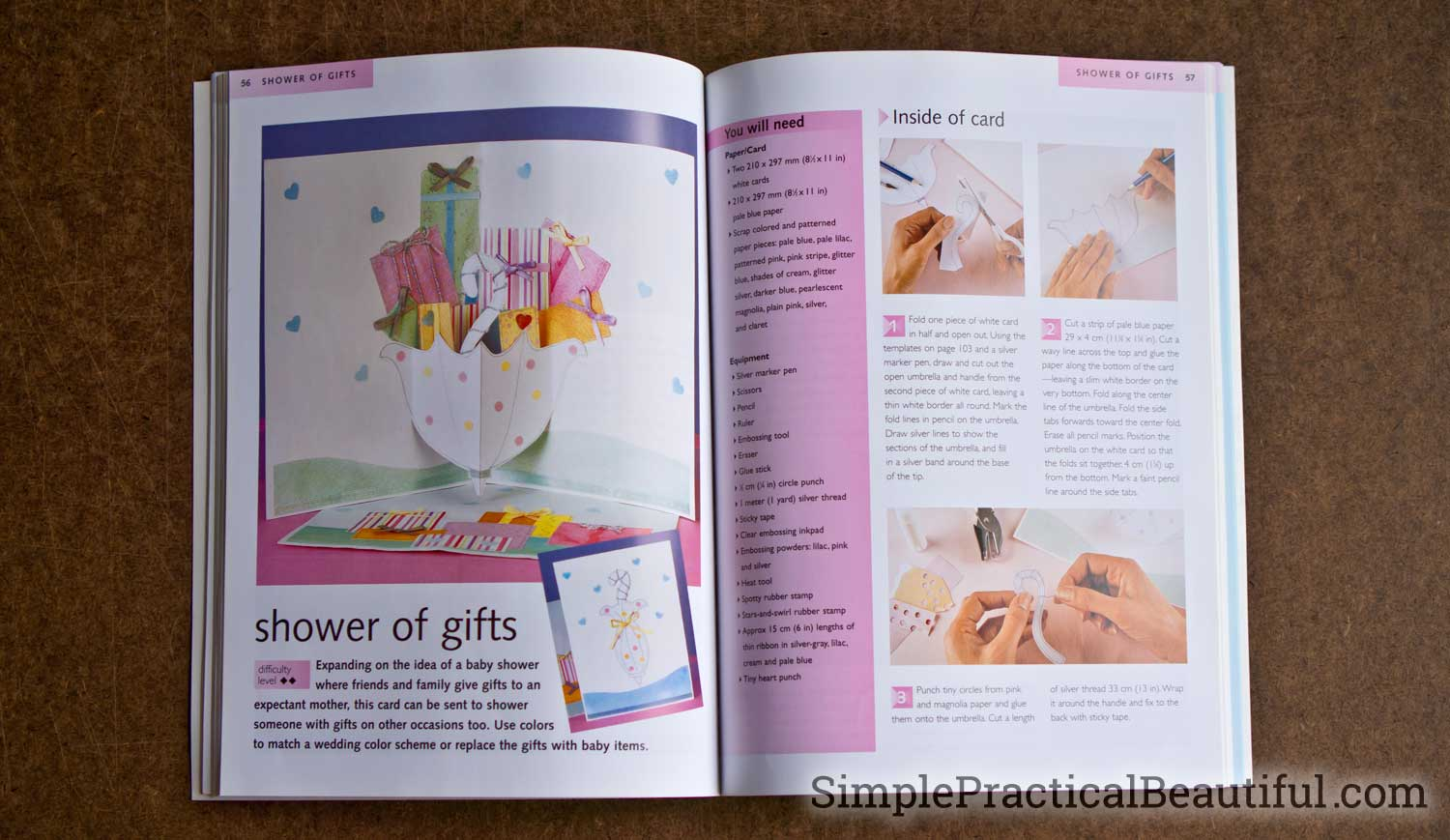 A book all about how to make pop-up cards with color photos and detailed instructions