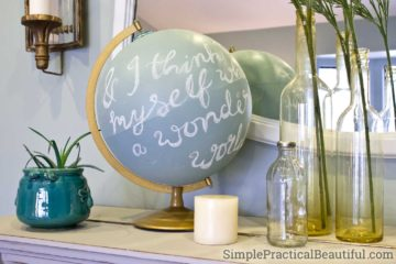 Refinish an old globe with chalk paint to create a beautiful home decor chalkboard sphere