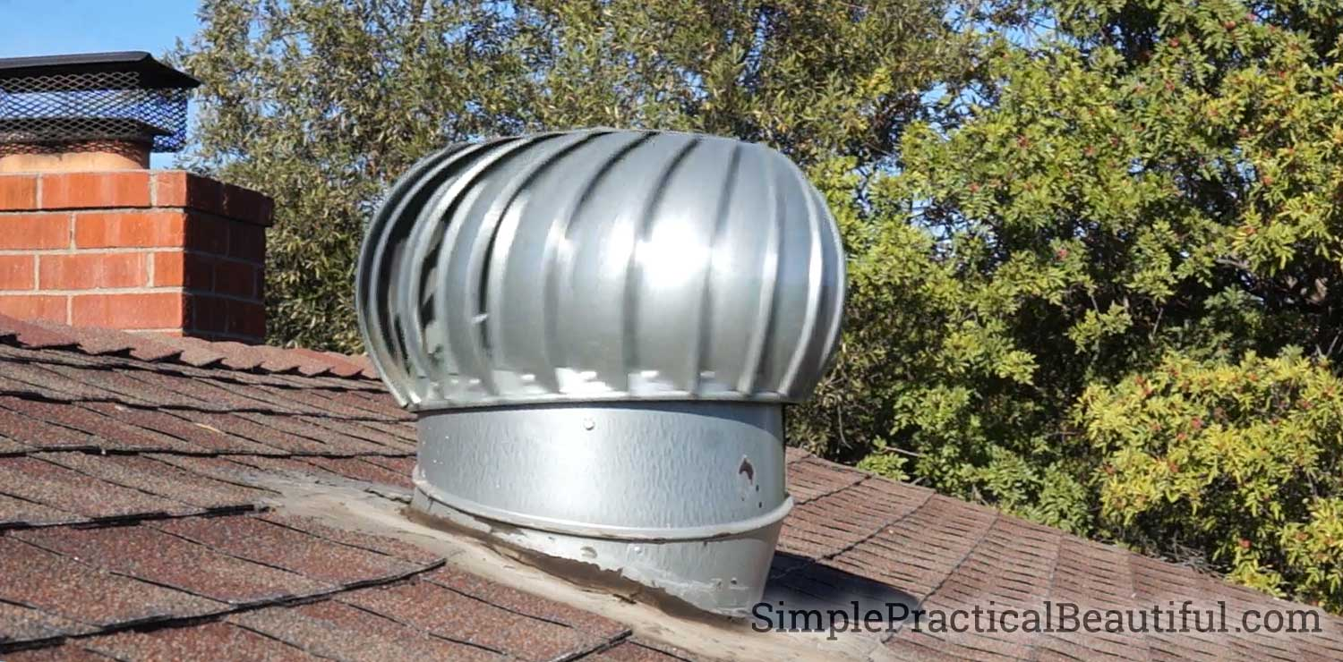 An attic roof vent or whirlybird allows hot air to escape from the attic cooling off the house