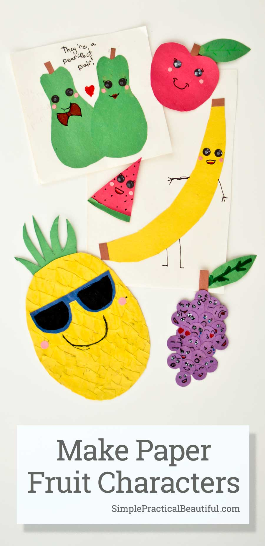 Learn how to make paper fruit embellishments that look adorable on a greeting card, scrapbook, journal, gift tag, and more | construction paper fruit characters | apple, banana, pineapple, grapes, watermelon, and a pair of pears