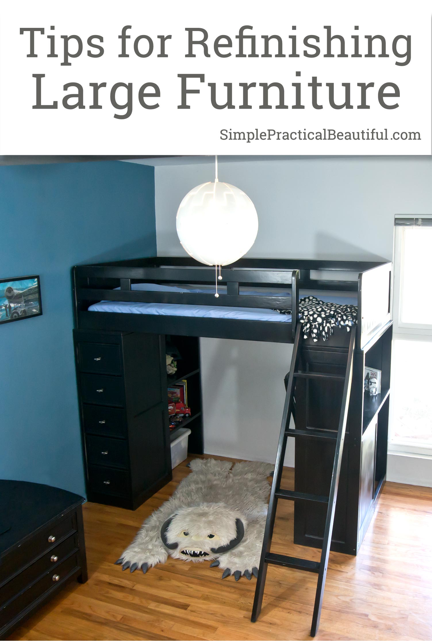 How to refinish large furniture like a loft bed | Tips and ideas for easier furniture flipping | part of the #FabFlippinContest