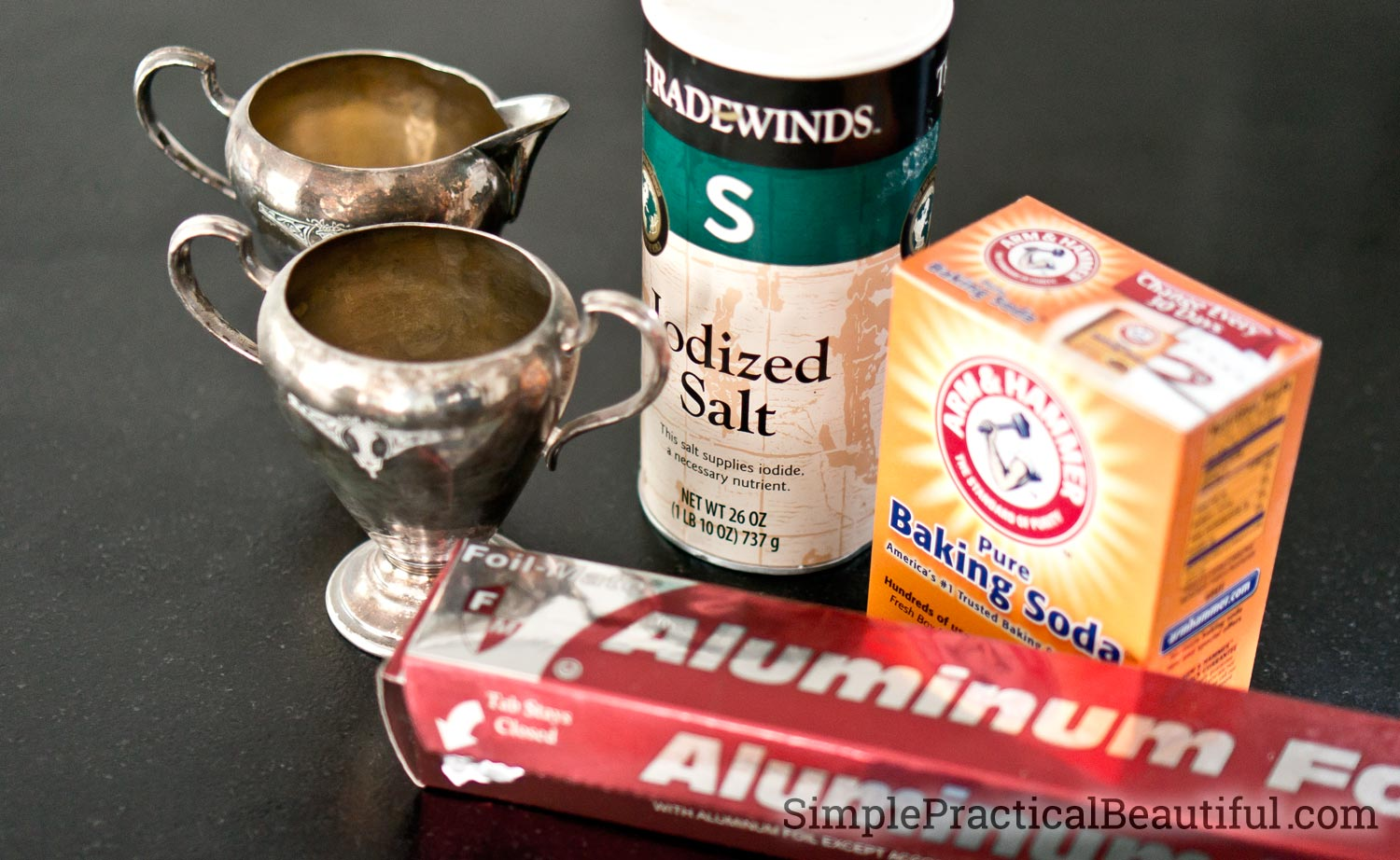 An easy DIY alternative to chemical silver polish uses salt, baking soda, and aluminum foil