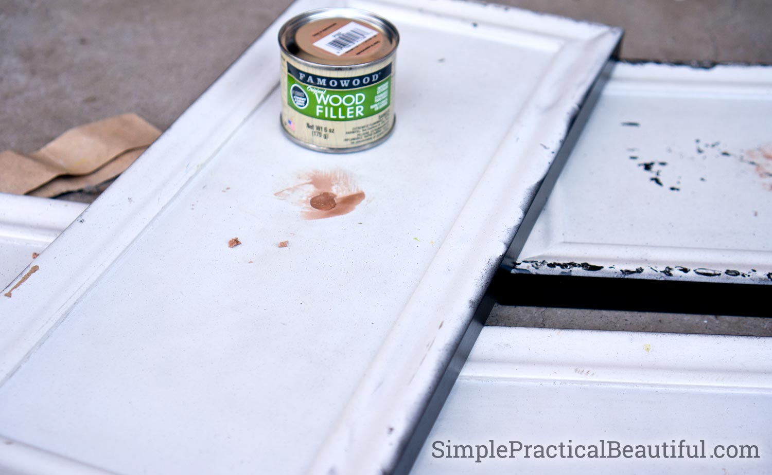 Use wood filler to repair holes when replacing furniture hardware