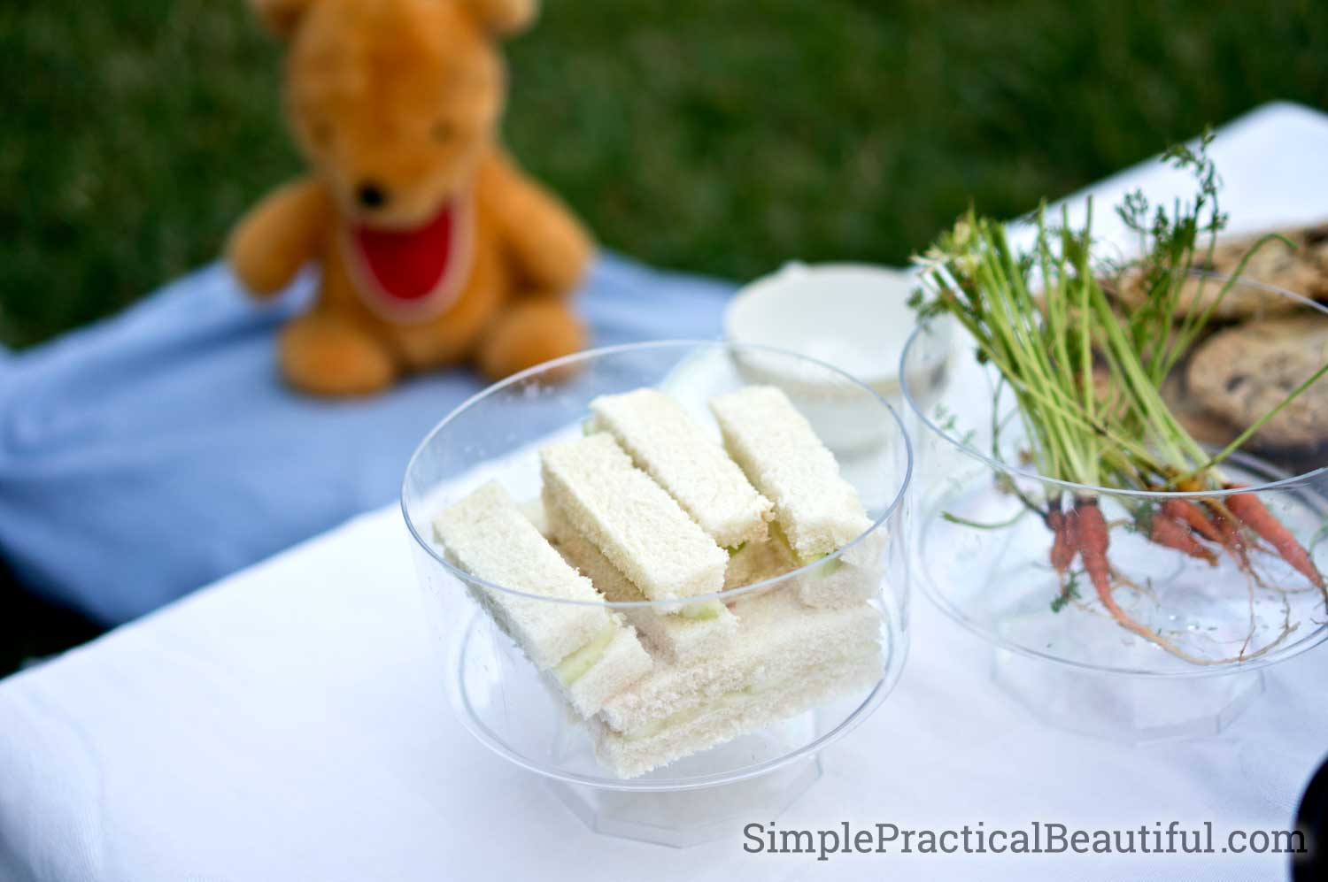 Make finger sandwiches for your tea party guests. They look cute, are fun to eat, and easy to make.