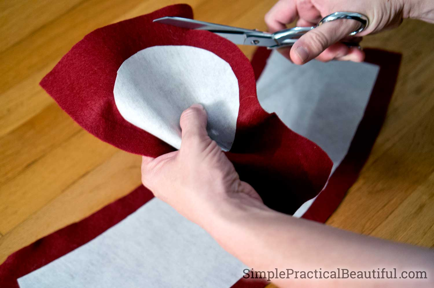 Cut out the red felt for the eleventh doctor's fez